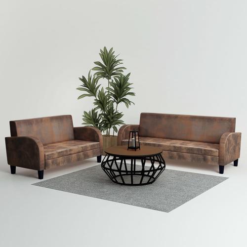 vidaXL Sofa-Set 2-tlg. Kunstleder in Wildleder-Optik Braun