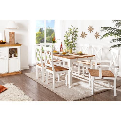 Esstisch Küchentisch MEXICO Weiß / Honig, mexikanischer Landhausstil, Pinie massiv Möbel