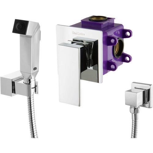 Paulgurkes - Bidet Set Unterputzarmatur Einhandmischer eckig Bidetbrause Hygiene