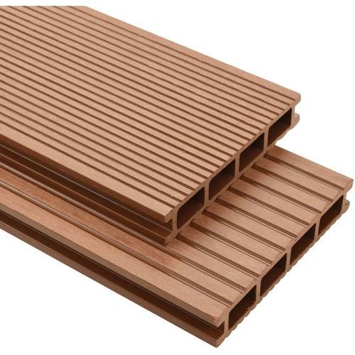 WPC Terrassendielen mit Zubeh?r 25 m2 4 m Braun