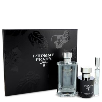 Prada L'homme For Men By Prada Gift Set - 3.4 Oz Eau De Toilette Spray + .34 Oz Mini Edt Spray + 3.4