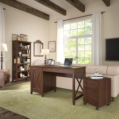 Key West 54W Single Pedestal Desk w/ 2 Drawer Mobile Pedestal & Bookcase in Bing Cherry - Bush Furniture KWS007BC