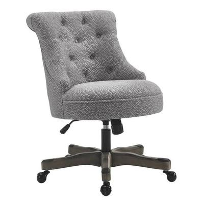 Sinclair Office Chair in Light Gray w/ Gray Wash Wood Base - Linon 178403LTGRY01U