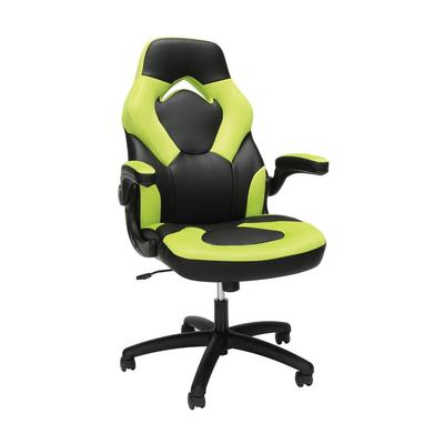 OFM Essentials Collection Racing Style Bonded Leather Gaming Chair in Green - OFM ESS-3085-GRN
