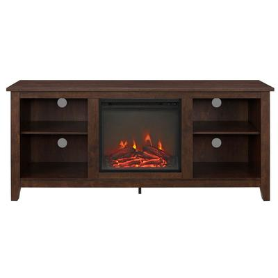 """""""58"""""""" Wood Fireplace Media TV Stand Console in Traditional Brown - Walker Edison W58FP18TB"""""""