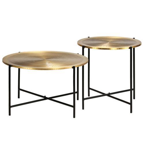 vidaXL Tisch-Set 2-tlg. MDF mit Messingbeschichtung