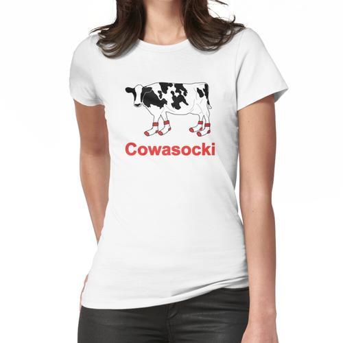 Milk Cow in Socks - Cowasocki Cow A Socky Women's Fitted T-Shirt