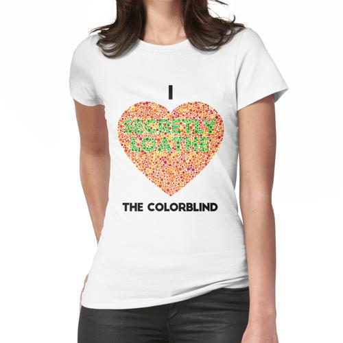 Ishihara Colorblind Test: I Heart the Colorblind (US spelling) Women's Fitted T-Shirt