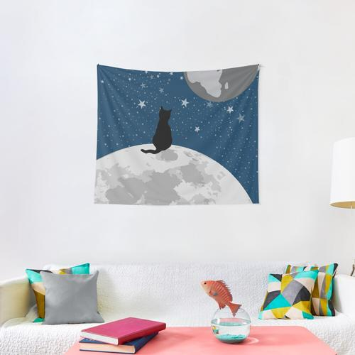 Space Cat Blue Wall Tapestry