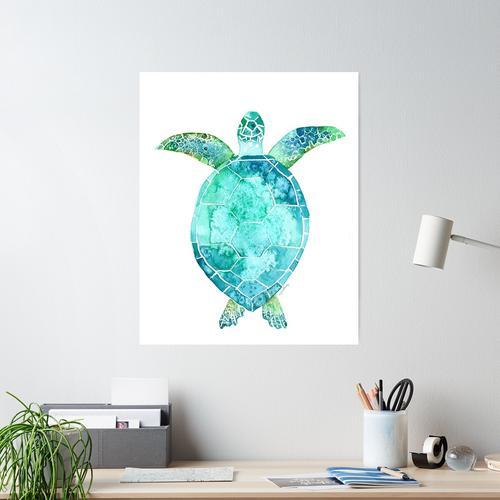 Blue Turtle, turtle art, ocean turtle swiming Poster