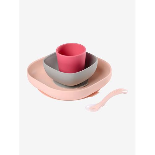 Baby Esslern-Geschirr aus Silikon BEABA® rosa