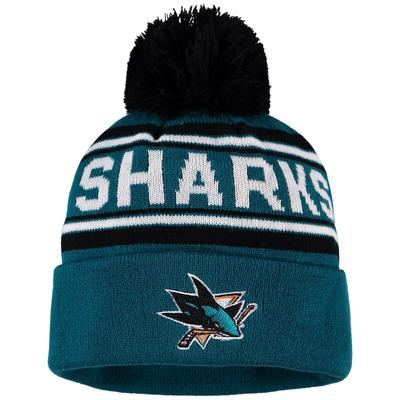 San Jose Sharks Youth Wordmark Cuffed Knit Hat with Pom - Teal