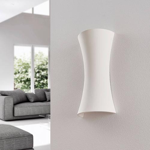 Gipswandleuchte Edon in Weiß, konkave Form, 30 cm
