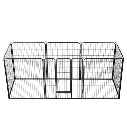vidaXL Hunde-Laufgitter 8 Paneele Stahl 80 x 100 cm Schwarz