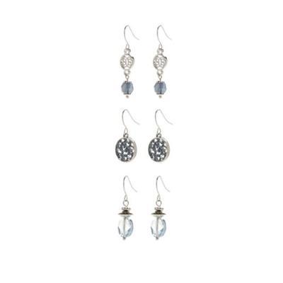 Ruby Rd Blue Silver-Tone Set of 3 Drop Earrings