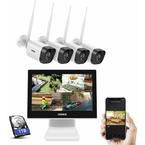 WL400 4CH 3MP Super HD Wireless-Sicherheitskamerasystem 10,1-Zoll-LCD-Bildschirm Mit 4PCS 3MP