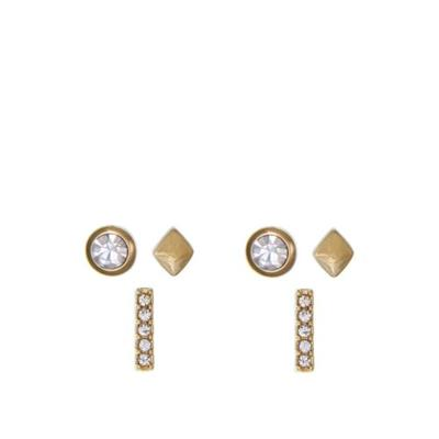 Laundry by Shelli Segal Gold Gold-Tone Trio Stud Pierced Earrings with Glass Crystal Stone Set