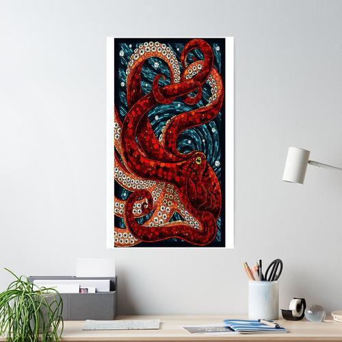 Cute Mosaic Octopus Poster