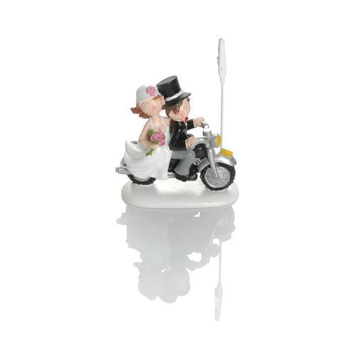 Booster Deko Figur Hochzeit Motorrad mit Klammer 2