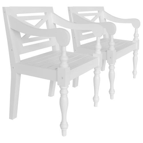 vidaXL Batavia-Stühle 2 Stk. Weiß Mahagoni Massivholz