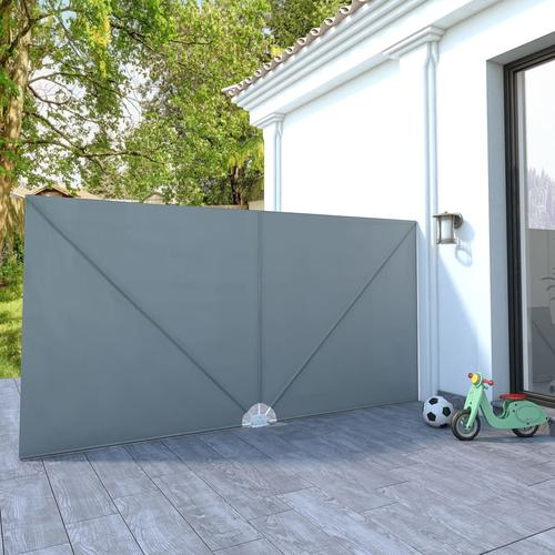 vidaXL Faltbarer Terrassen-Seitenfächer Grau 400×200 cm