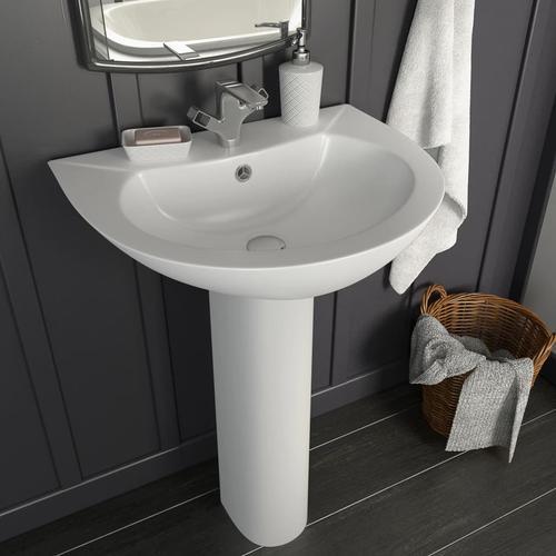 vidaXL Freistehendes Waschbecken mit Säule Keramik Weiß 520x440x190 mm