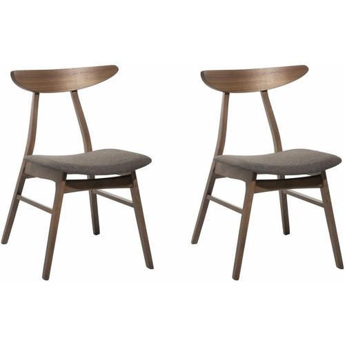 Esszimmerstuhl 2er Set Braun Holz 2 x Sitzkissen Dunkelgrau Stoff Japanischer Stil