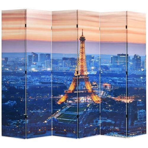 Raumteiler klappbar 228 x 170 cm Paris bei Nacht