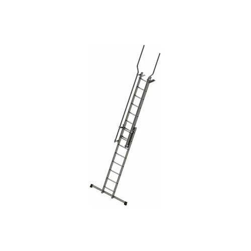 B. Stufenaufstieg mit Ausstiegsholmen und Befestigungsplatten