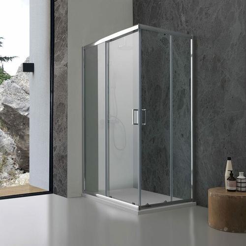 Rechteckige Duschkabine Modell Giada 80 X 120 Aus Transparentem Kristallglas