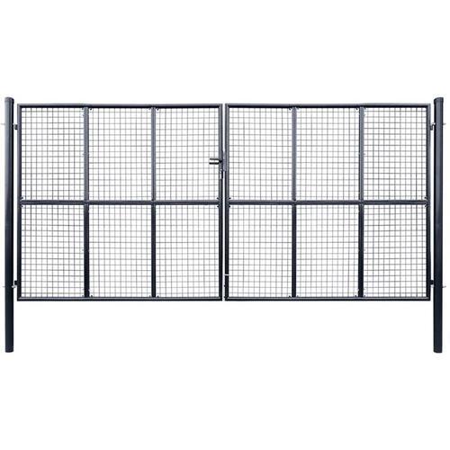 Mesh-Gartentor Verzinkter Stahl 400 x 200 cm Grau