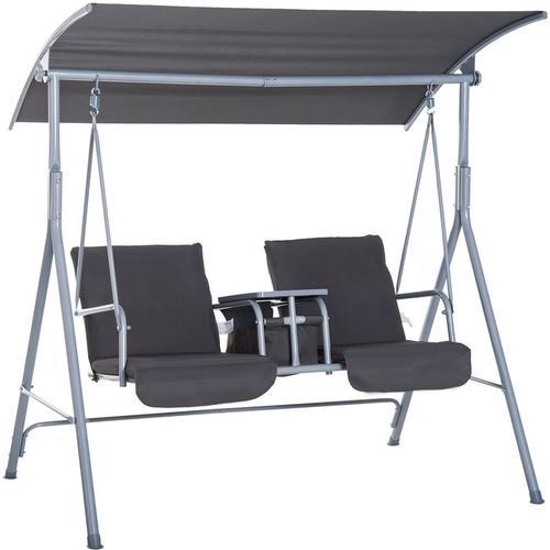 ® Hollywoodschaukel Gartenschaukel mit Sonnendach 2-Sitzer Grau - grau - Outsunny