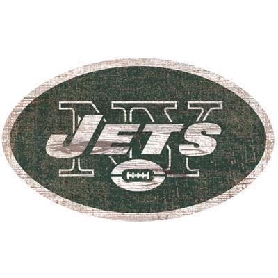 New York Jets 24'' x Distressed Logo Cutout Sign