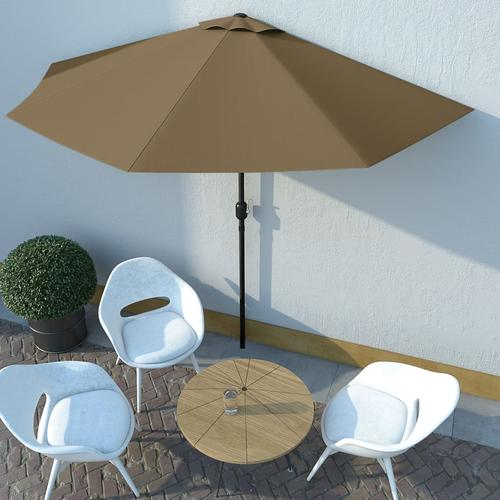 vidaXL Balkon-Sonnenschirm mit Alu-Mast Taupe 300×150 cm Halbrund