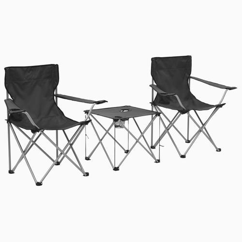vidaXL Camping-Sitzgruppe 3-tlg. Grau
