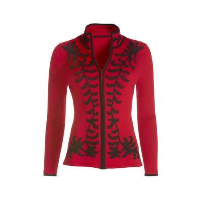 Boston Proper - Scroll Detail Zip Cardigan - Red/black - Medium