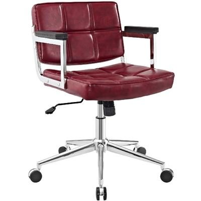 Portray Mid Back Upholstered Vinyl Office Chair EEI-2686-RED