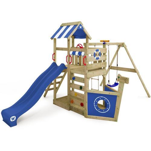 Spielturm Klettergerüst SeaFlyer mit Schaukel & blauer Rutsche, Baumhaus mit Sandkasten,