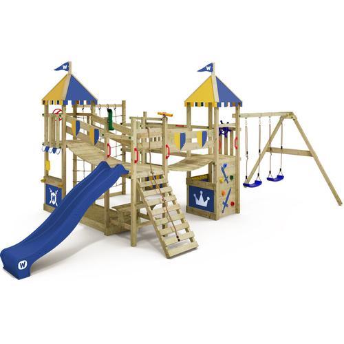 WICKEY Spielturm Ritterburg Smart Queen mit Schaukel & blauer Rutsche, Spielhaus mit Sandkasten,