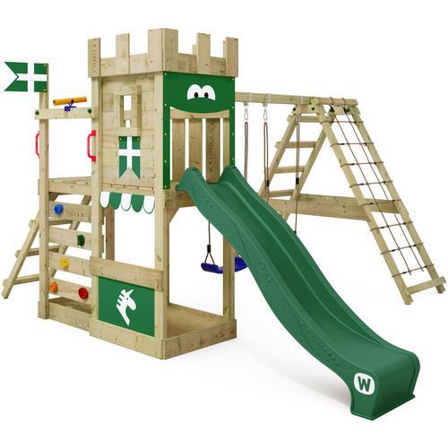 Spielturm Ritterburg DragonFlyer mit Schaukel & grüner Rutsche, Spielhaus mit Sandkasten,