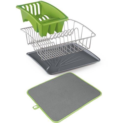 Metaltex Geschirrständer Aquanet, inklusive Softex-Abtropfmatte grün Küchenaccessoires Wohnaccessoires