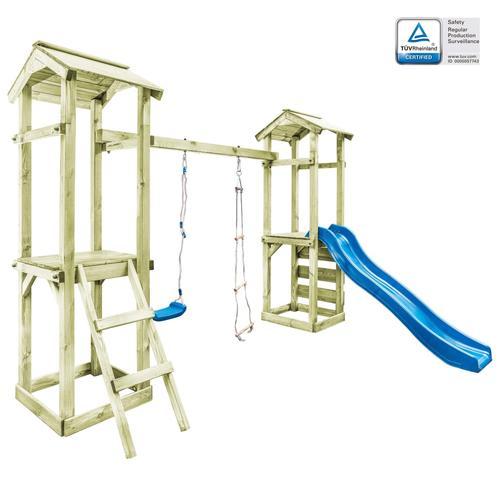 vidaXL Spielturm mit Leiter, Rutsche & Schaukel 300×197×218 cm Holz