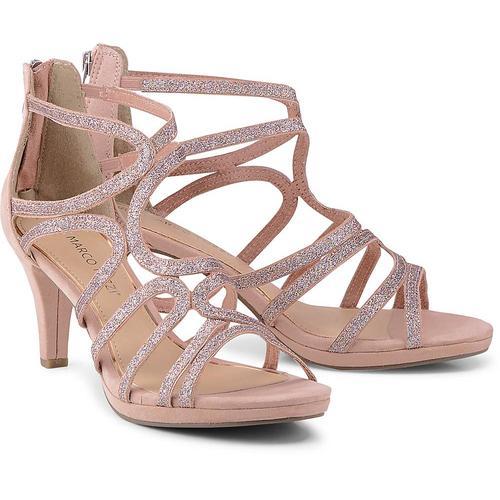 MARCO TOZZI, Glitzer-Sandalette in rosa, Sandalen für Damen Gr. 38
