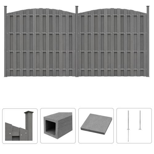 vidaXL WPC Zaun-Set 2 Geschwungen 376 x (165-185) cm Grau