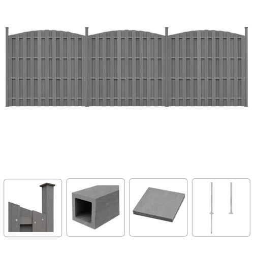 vidaXL WPC Zaun-Set 3 Geschwungen 562 x (165-185) cm Grau