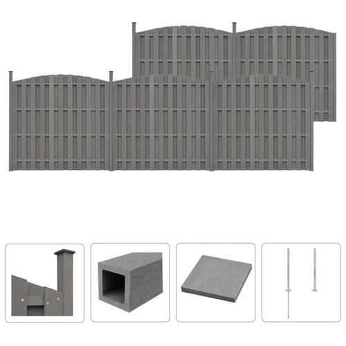 vidaXL WPC Zaun-Set 5 Geschwungen 932 x (165-185) cm Grau