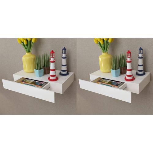 vidaXL Wandregal Hängeregal mit Schubladen 2 Stk. Weiß 48 cm