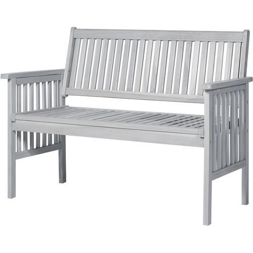 ® 2-Sitzer Sitzbank Gartenbank Holzbank mit Armlehne Landhausstil Akazienholz Grau 117 x 63 x 90 cm