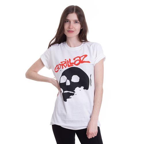 Gorillaz - Skull White - - T-Shirts