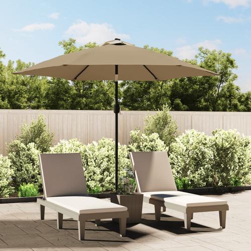 vidaXL Sonnenschirm mit LED-Leuchten und Stahlmast 300 cm Taupe